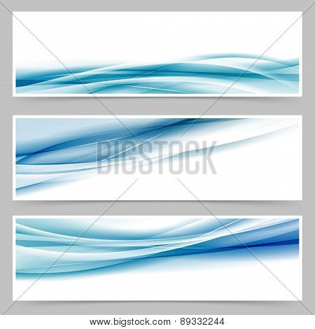Modern Header Set With Abstract Blue Wave Lines