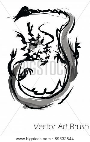 Vector dragon china paint