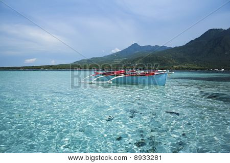 Blue Banka Filipino Outrigger Fishing Boat