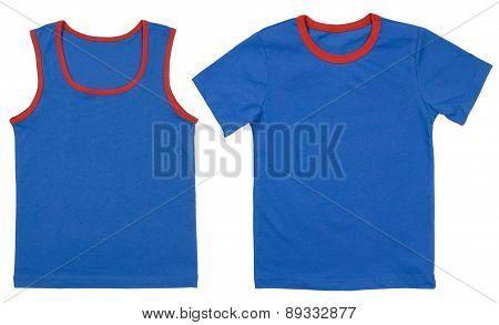 Set of child shirts isolated on white background