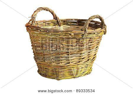 Handmade Wattle Basket Over White