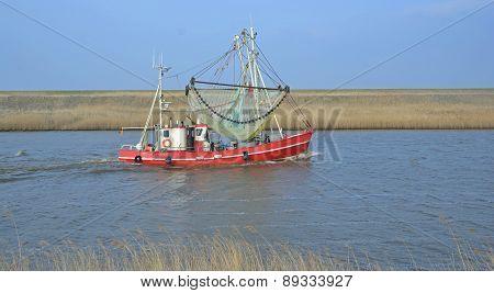 Crab Fishing Trawler in wadden Sea Near Greetsiel,North Sea,Lower Saxony,Germany