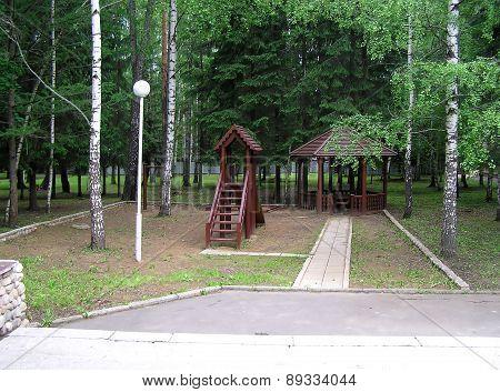 Children's playground in the city yard