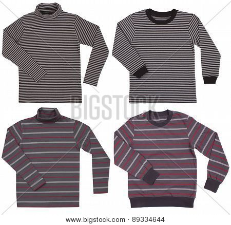 Set sweaters isolated on white background