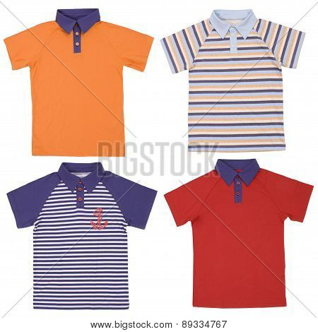 Set of child polo shirts isolated on white
