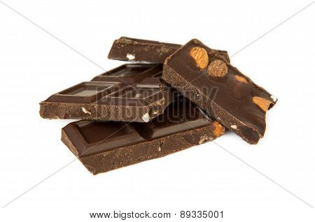 Pieces Of Dark Chocolate With Almonds