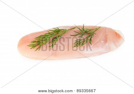 Piece Of Raw Chicken With Dill