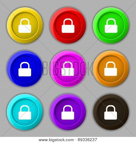 Pad Lock Icon Sign. Symbol On Nine Round Colourful Buttons. Vector