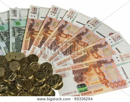 Russian Cash On A White Background.