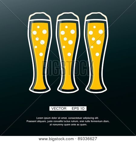 Beer icon in modern flat design. Alcohol beverage drink symbol vintage style Eps10 vector illustrati