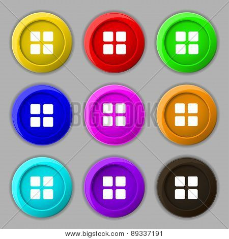 List Menu, Content View Options Icon Sign. Symbol On Nine Round Colourful Buttons. Vector