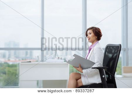 Pensive female entrepreneur