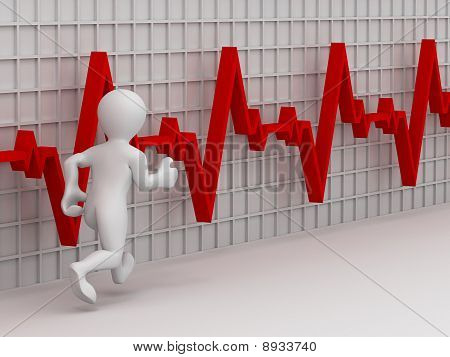 Running Men On The Background Of The Chart Heartbeat