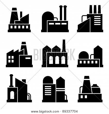 Factory and Power Industrial Building Icon Set. Vector
