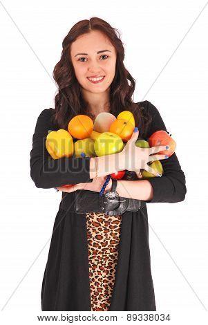 Girl-teenager Keeps In Hands A Fruit