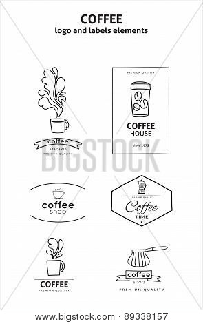 Vector set of coffee shop logos, design elements and badges