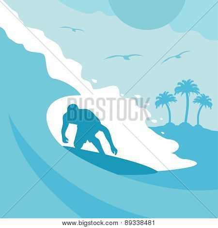 Summer background with surfer and wave
