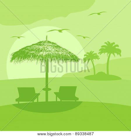 Summer background with lounge and umbrella
