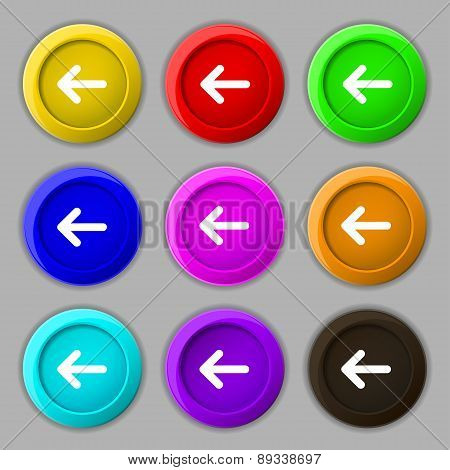 Arrow Left, Way Out Icon Sign. Symbol On Nine Round Colourful Buttons. Vector