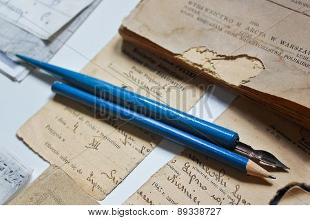 Old documents and writing instruments