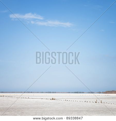 Dry Lake Under Sky With Clouds