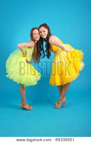 Two Young Girls In Ballroom Dress