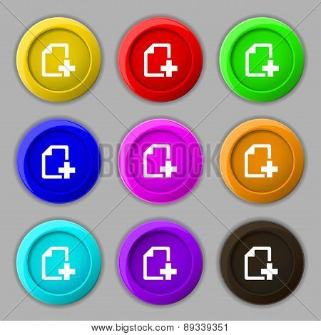 Add File Document Icon Sign. Symbol On Nine Round Colourful Buttons. Vector