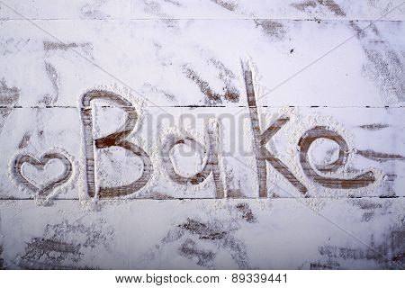 Wooden Table Top With Text On Flour