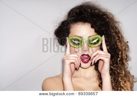 Woman In Fruit Glasses