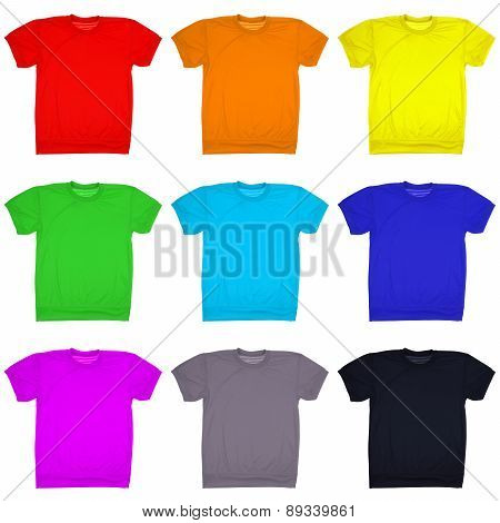 Nine Blank T-shirt Isolated On White. (clipping Path)