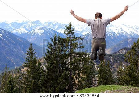 Jumping Man In Nature