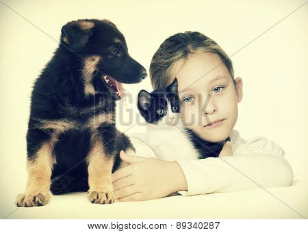 Child And Kitten And Puppy