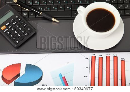 Calculator, Laptop And Cup Of Coffee