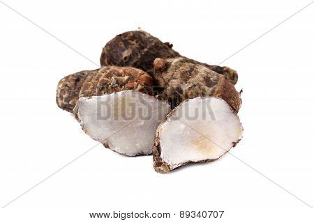 Boiled Tiny Taro On White Background