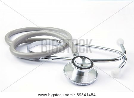 Bright And Beautiful Light Of Stethoscope On White Background Use For Doctor ,hospital And Health Ca