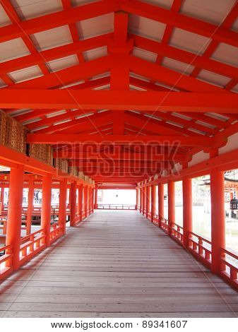 The beautiful japanese corridor  of Itsukushima shrine.