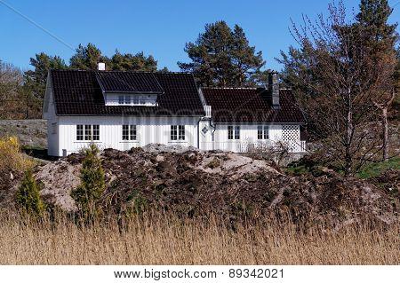Norwegian White Wooden Summer House