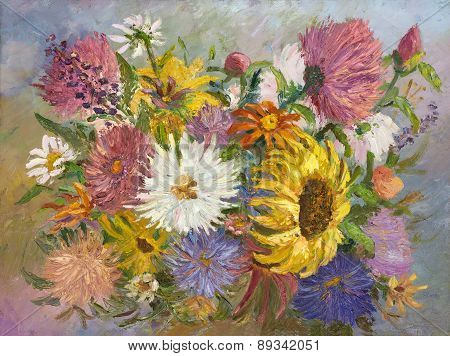bright colorful bouquet painting oil on canvas