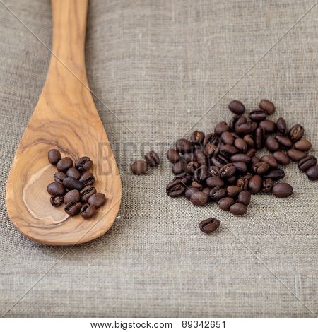 Corner Decoration Of Coffee Beans On Piece Sacking Material