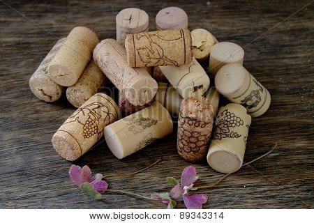 Bunch Of Wine Corks On Table