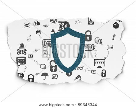 Protection concept: Contoured Shield on Torn Paper background