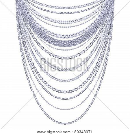 Many chains silver metallic necklace.