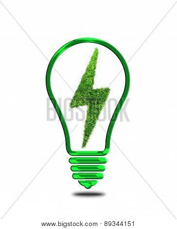 Light bulb with lightning symbol.