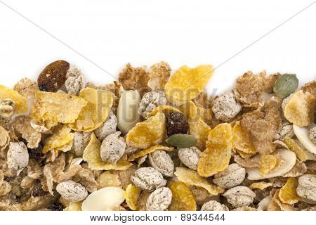 Healthy breakfast cereals.  Border over white background.