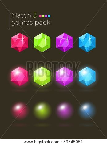 Vector set of colorful gems for casual match3 games