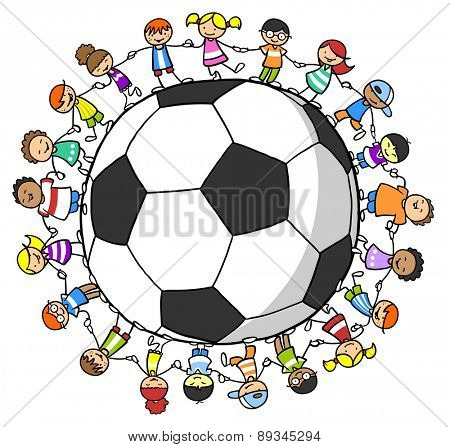 Many happy laughing children holding hands around a big soccer ball