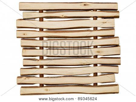 trivet made of wooden sticks - wood background abstract
