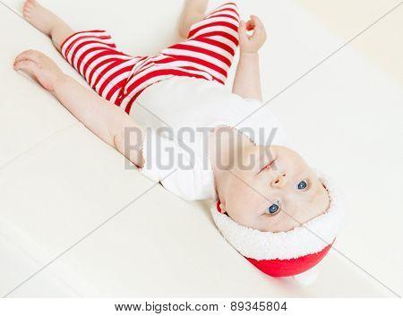 baby girl as Santa Claus