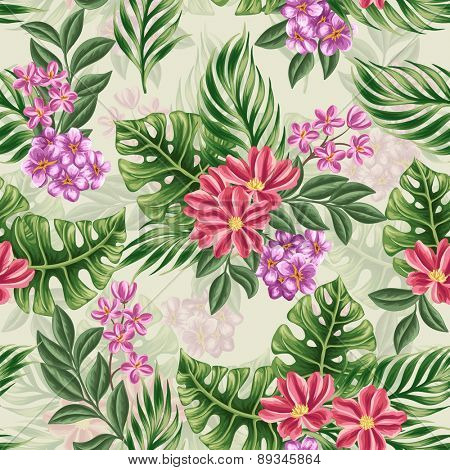 Tropical floral seamless pattern with in watercolor style