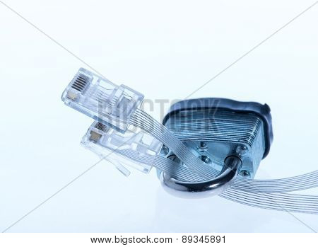 network Ethernet cables locked with padlock.